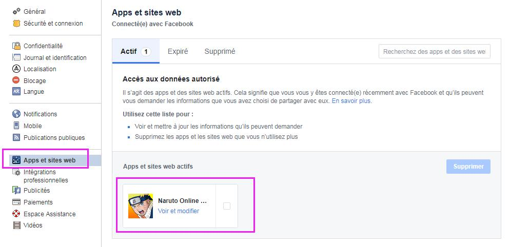 se connecter à facebook